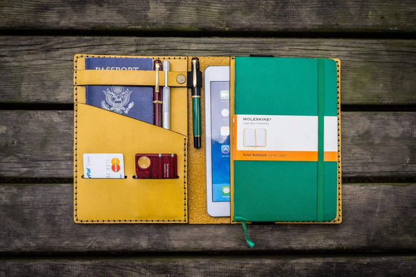 iPad Mini & Large Moleskine Cover - Yellow-Galen Leather