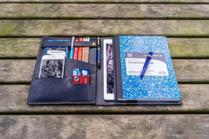 iPad Pro 10.5 and B5 size Notebook Cover - Navy Blue-Galen Leather