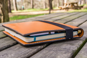 iPad Pro 10.5 and B5 size Notebook Cover - Orange-Galen Leather