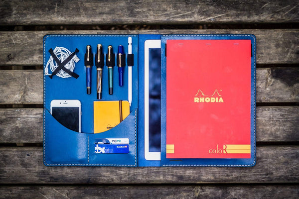 iPad Pro 12.9 & Letter/A4 Size Leather Padfolio - Blue-Galen Leather