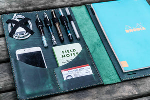 iPad Pro 12.9 & Letter/A4 Size Leather Padfolio - Crazy Horse Forest Green-Galen Leather