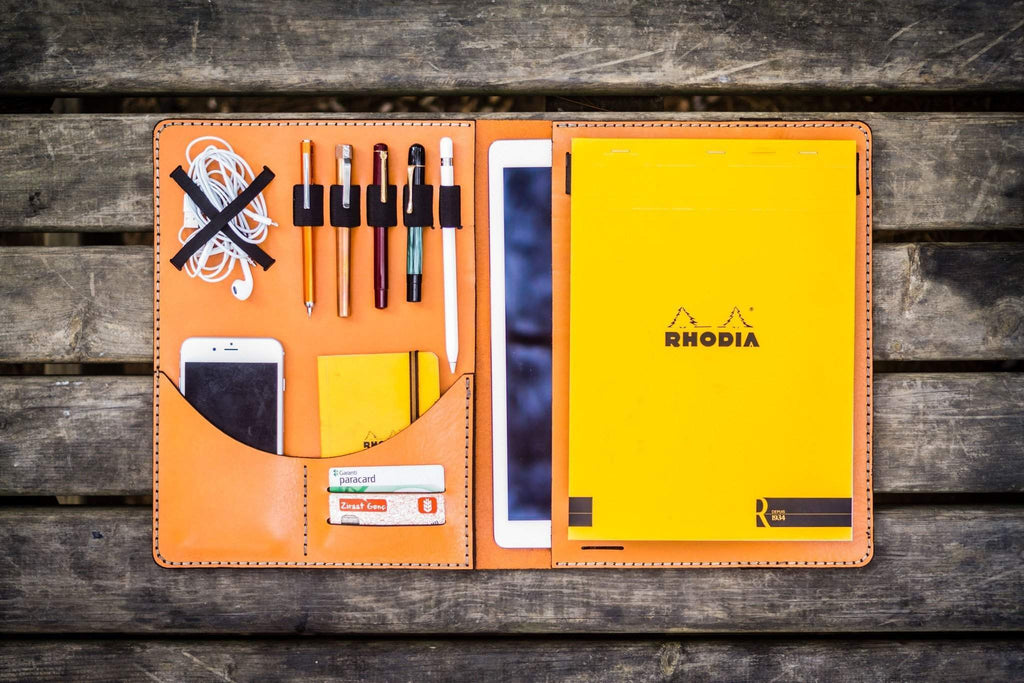 iPad Pro 12.9 & Letter/A4 Size Leather Padfolio - Orange-Galen Leather