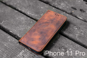 distressed brown leather iPhone 11 Pro case