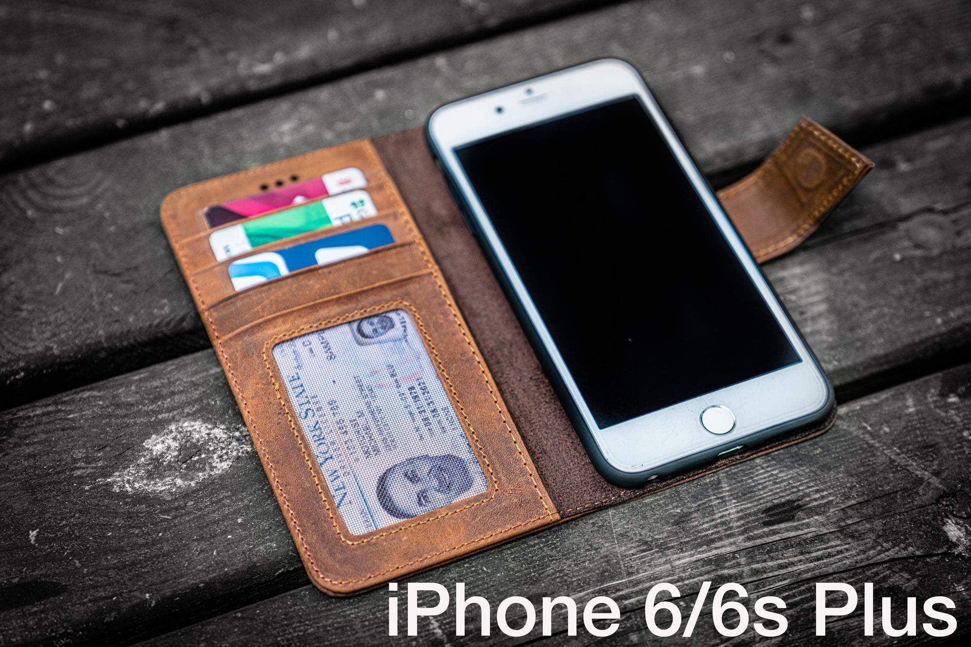iPhone 6/6s Plus Leather Wallet Case - No.02-Galen Leather