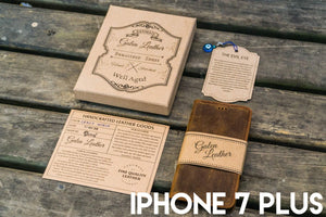 iPhone 7 Plus Leather Wallet Case - No.02-Galen Leather