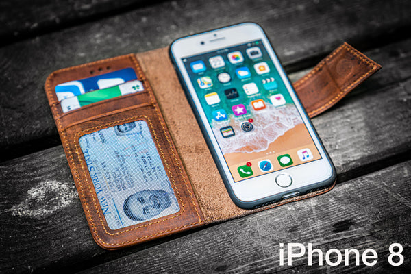 iPhone 8 Leather Wallet Case - No.02-Galen Leather