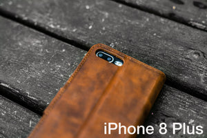 iPhone 8 Plus Leather Wallet Case - No.02-Galen Leather