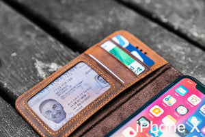 iPhone X Leather Wallet Case - No.02-Galen Leather