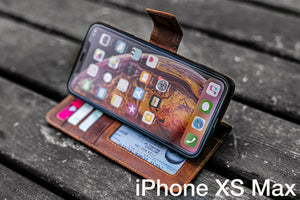 iPhone XS-MAX Leather Wallet Case - No.02-Galen Leather