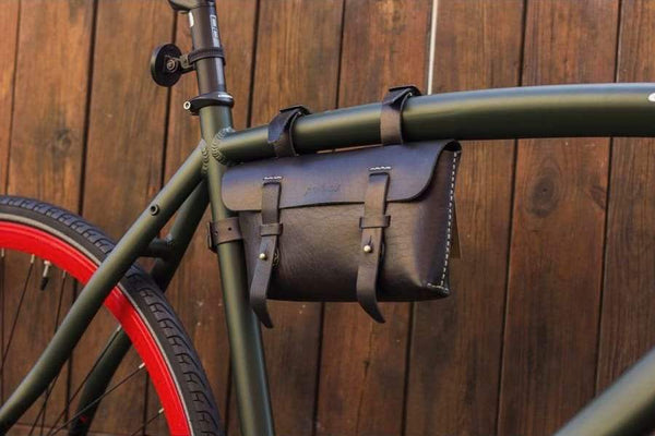 Leather Bicycle CrossBar Bag-Black-Galen_Leather