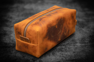 Leather Classic Dopp Kit & Travel Toiletry Bag - Crazy Horse Brown-Galen Leather