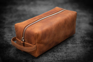 Leather Classic Dopp Kit & Travel Toiletry Bag - Crazy Horse Tan-Galen Leather