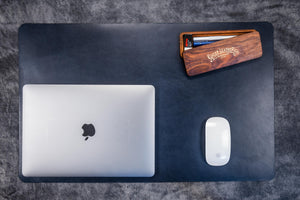 Leather Desk Pad-Navy Blue
