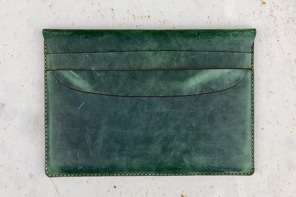 Leather Document Holder - Crazy Horse Forest Green-Galen Leather