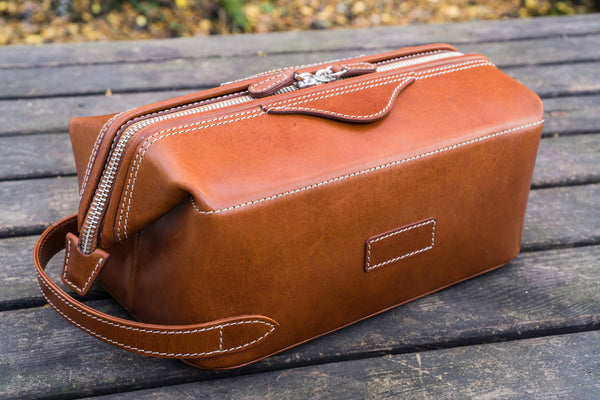 Leather Dopp Kit - Brown - Galen Leather