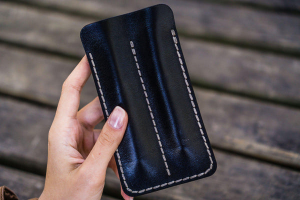 Leather Double Fountain Pen Case / Pen Sleeve - Black-Galen Leather
