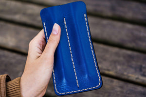 Leather Double Fountain Pen Case / Pen Sleeve - Blue-Galen Leather