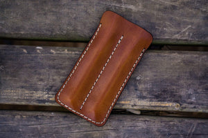 Leather Double Fountain Pen Case / Pen Sleeve - Brown-Galen Leather