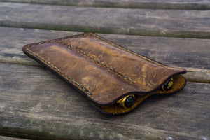 Leather Double Fountain Pen Case / Pen Sleeve - Crazy Horse Brown-Galen Leather