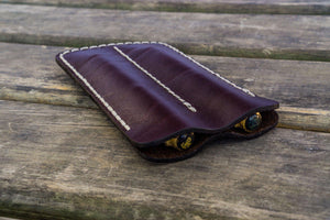 Leather Double Fountain Pen Case / Pen Sleeve - Dark Brown-Galen Leather