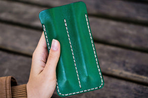 Leather Double Fountain Pen Case / Pen Sleeve - Green-Galen Leather