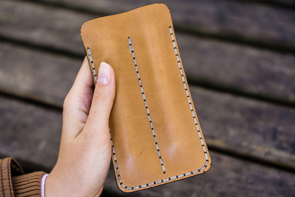 Leather Double Fountain Pen Case / Pen Sleeve - Natural-Galen Leather