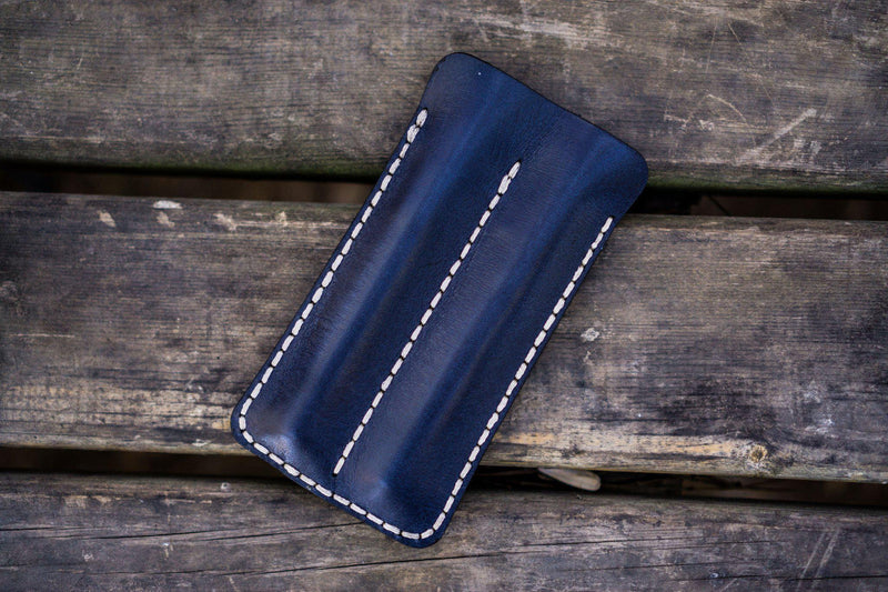 Leather Double Fountain Pen Case / Pen Sleeve - Navy Blue-Galen Leather