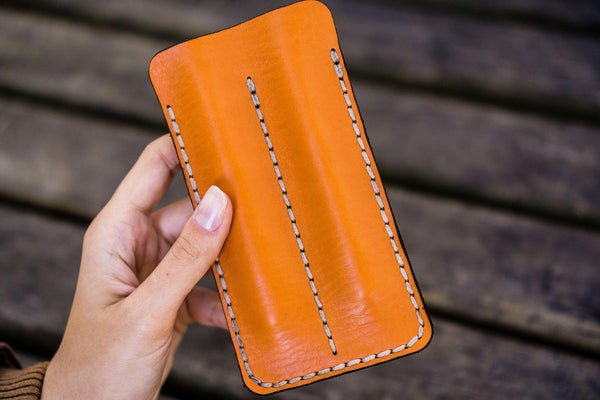 Leather Double Fountain Pen Case / Pen Sleeve - Orange-Galen Leather