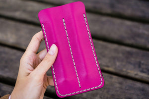Leather Double Fountain Pen Case / Pen Sleeve - Pink-Galen Leather