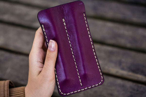 Leather Double Fountain Pen Case / Pen Sleeve - Purple-Galen Leather