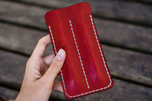 Leather Double Fountain Pen Case / Pen Sleeve - Red-Galen Leather