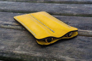 Leather Double Fountain Pen Case / Pen Sleeve - Yellow-Galen Leather