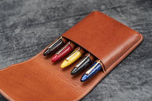 Leather Flap Pen Case for Five Pens - Brown-Galen Leather
