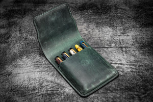 Leather Flap Pen Case for Five Pens - Crazy Horse Forest Green-Galen Leather