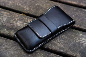 Leather Flap Pen Case for Three Pens - Black-Galen Leather