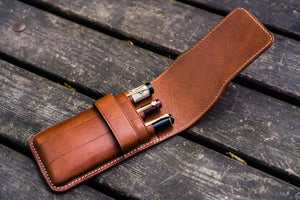 Leather Flap Pen Case for Three Pens - Brown-Galen Leather