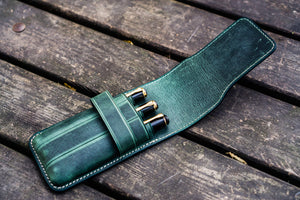 Leather Flap Pen Case for Three Pens - Crazy Horse Forest Green-Galen Leather