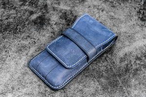 Leather Flap Pen Case for Three Pens - Crazy Horse Navy Blue-Galen Leather