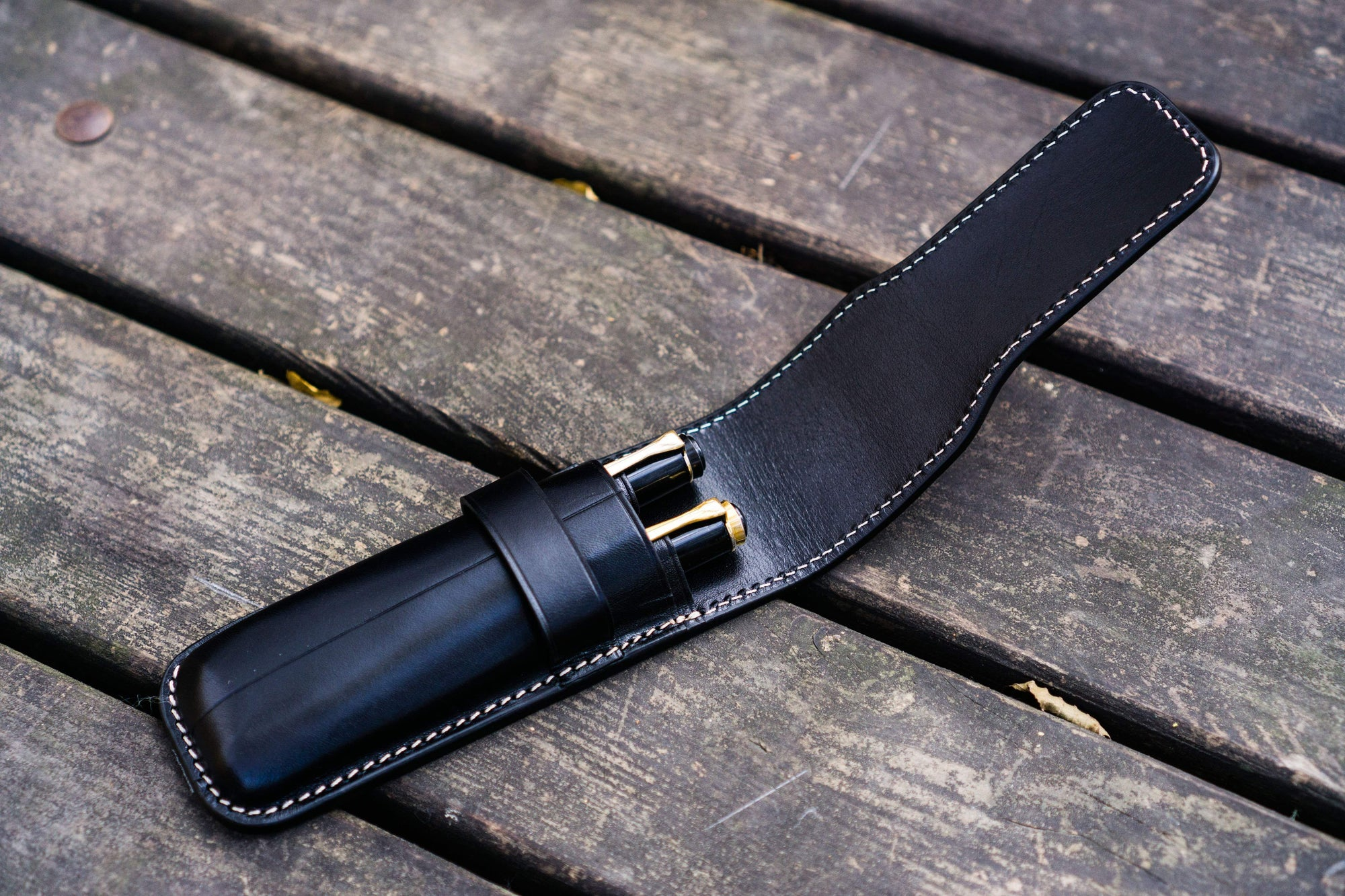 Leather Flap Pen Case for Two Pens - Black-Galen Leather