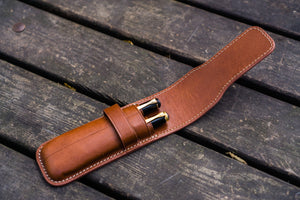 Leather Flap Pen Case for Two Pens - Brown-Galen Leather