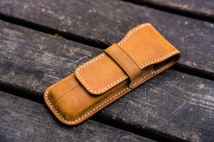 Leather Flap Pen Case for Two Pens - Crazy Horse Brown-Galen Leather