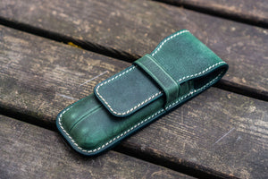 Leather Flap Pen Case for Two Pens - Crazy Horse Forest Green-Galen Leather