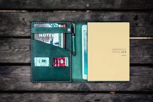 Leather Hobonichi Cousin A5 Planner Cover - Crazy Horse Forest Green-Galen Leather
