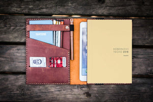 Leather Hobonichi Cousin A5 Planner Cover - Crazy Horse Tan-Galen Leather