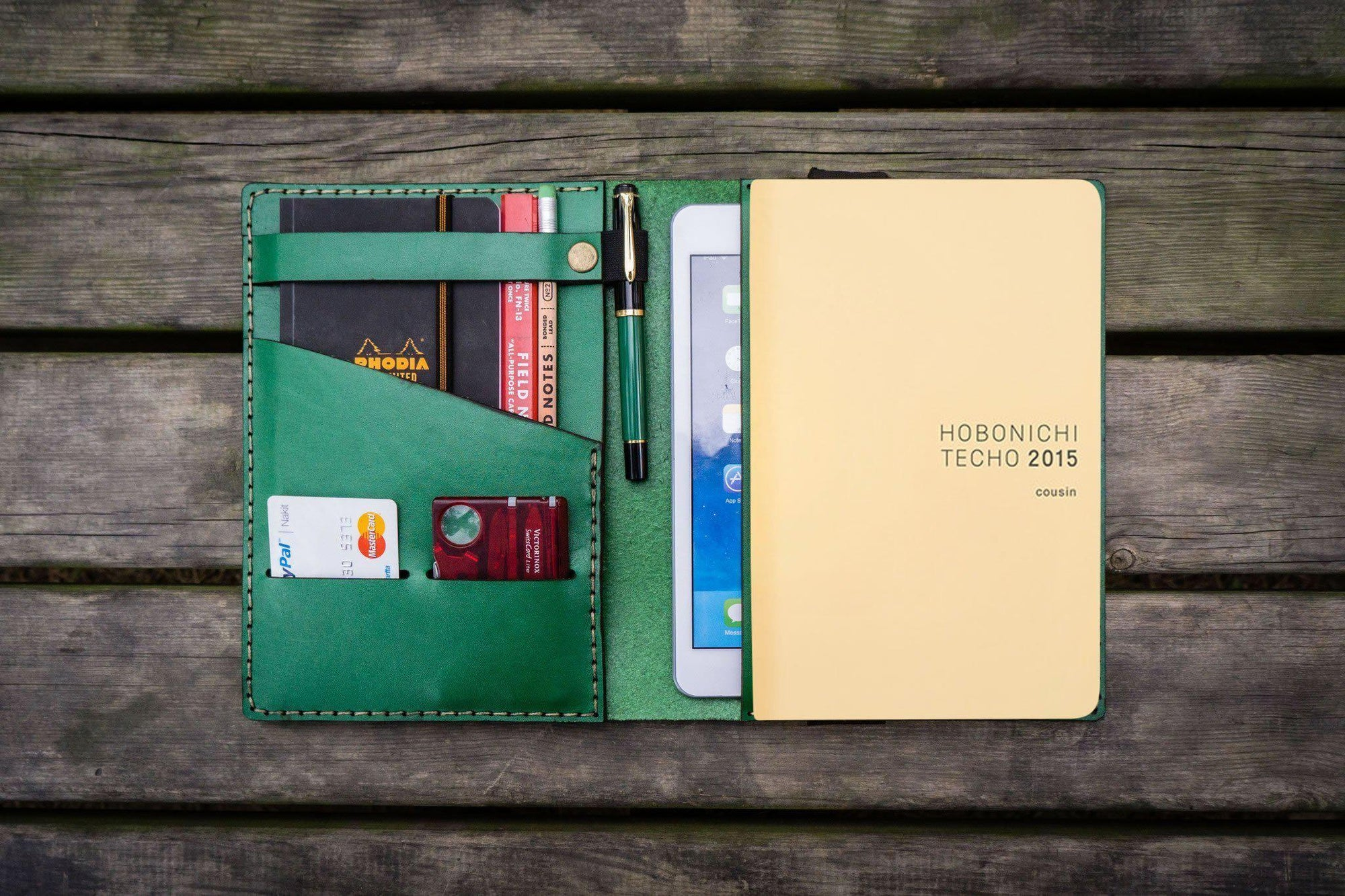 Leather Hobonichi Cousin A5 Planner Cover - Green-Galen Leather