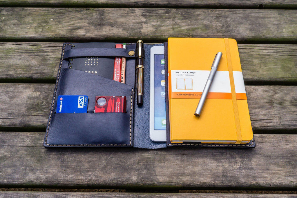 Leather Hobonichi Cousin A5 Planner Cover Navy Blue