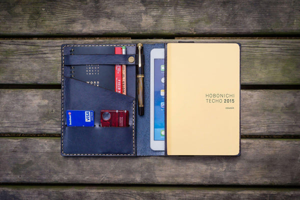 Leather Hobonichi Cousin A5 Planner Cover - Navy Blue-Galen Leather