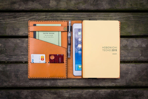 Leather Hobonichi Cousin A5 Planner Cover - Orange-Galen Leather
