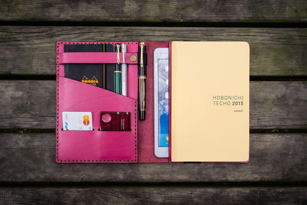 Leather Hobonichi Cousin A5 Planner Cover - Pink-Galen Leather