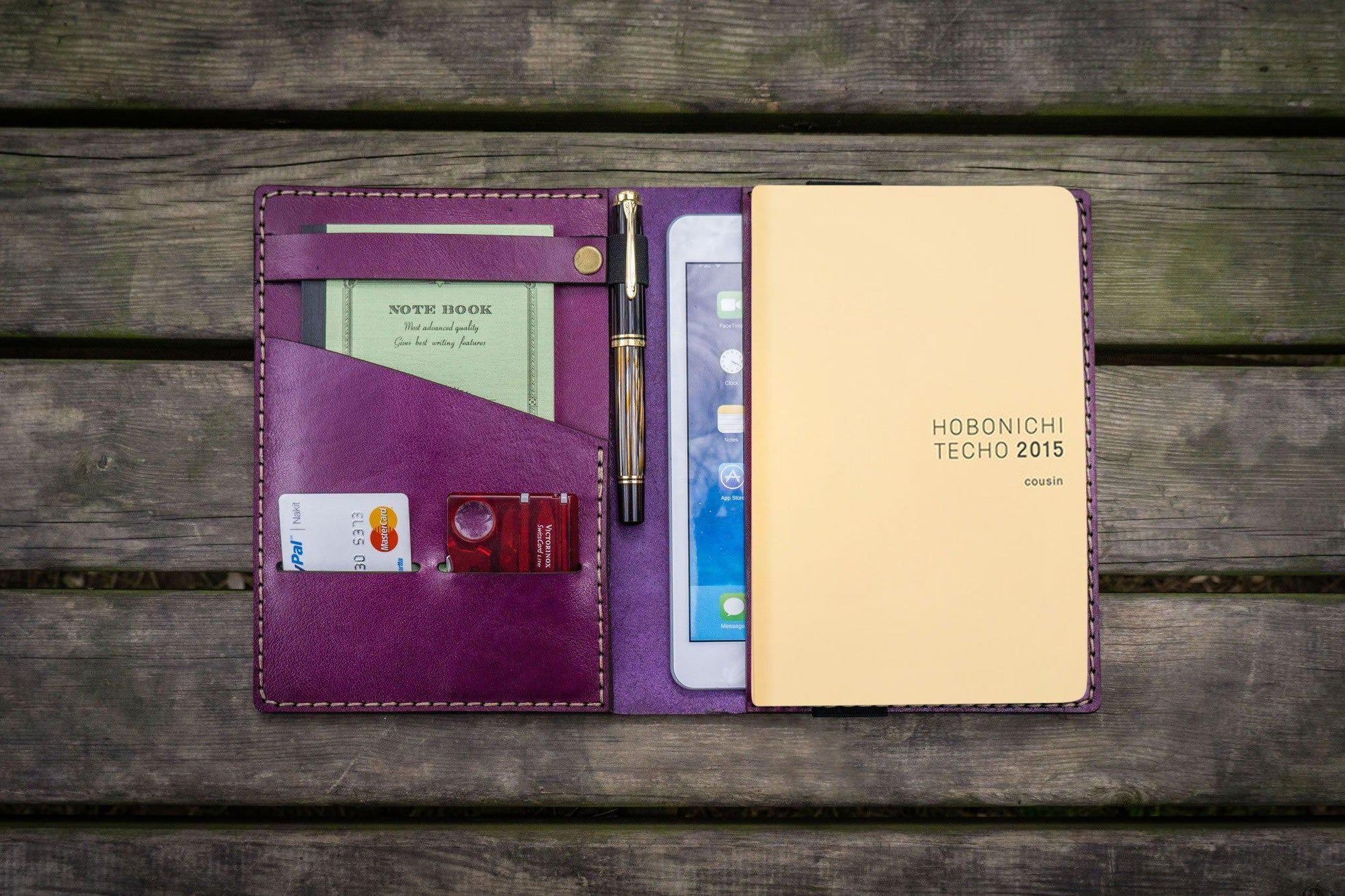 Leather Hobonichi Cousin A5 Planner Cover - Purple-Galen Leather